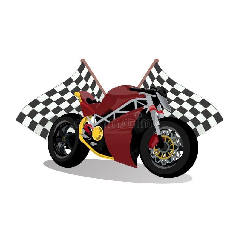 Moto rouge extrême de vélo de sport superbe illustration stock