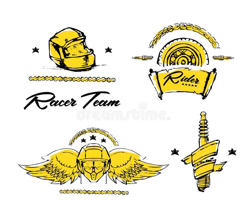 Moto rowerzysty temat, ikona set Cukierniany setkarz złoty ilustracji