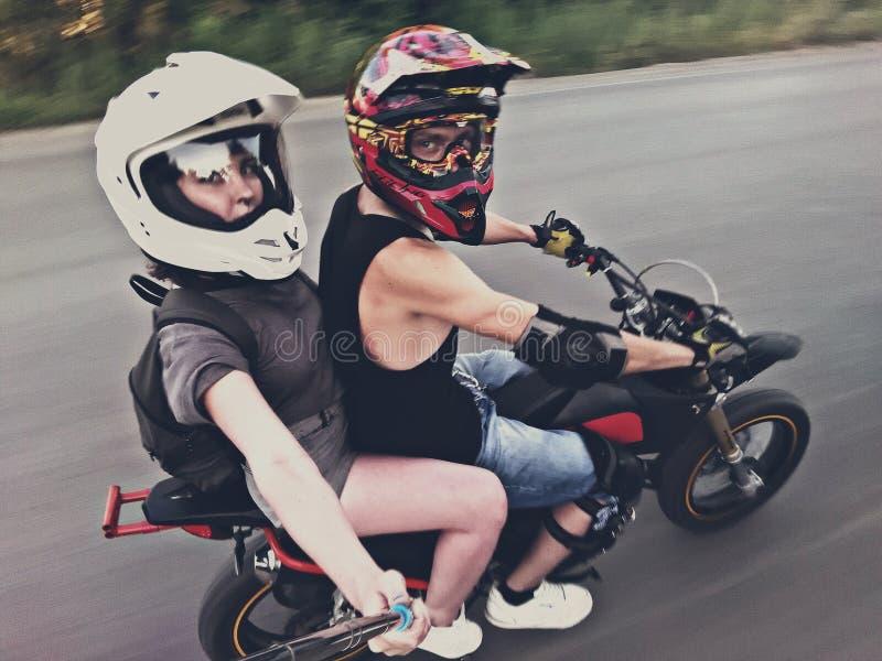 Moto selfie stock photo