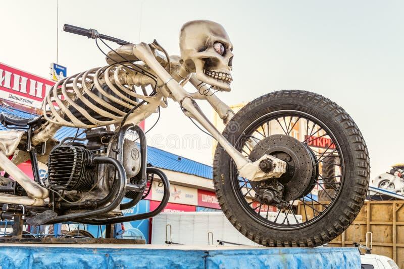 Moto Skeleton sculpture on motorbike area. Motorcycle - skeleton on highway M4 Don. stock photos