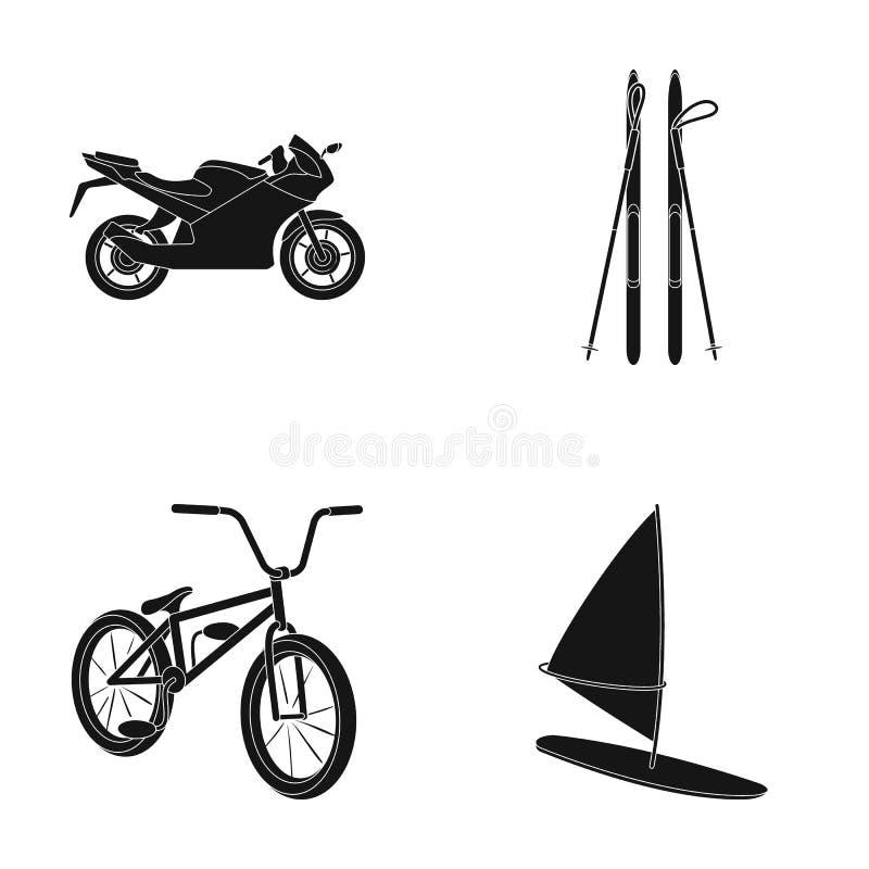 Moto, ski de montagne, faire du vélo, surfant avec une voile Les icônes réglées de collection de sport extrême dans le style noir illustration libre de droits