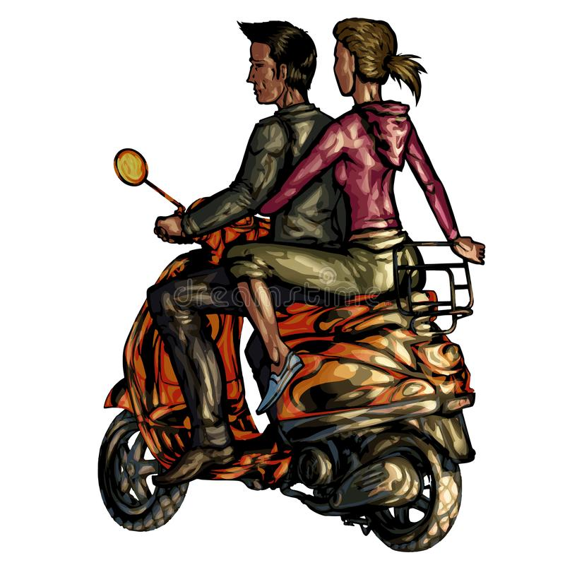 Moto sparkcykel stock illustrationer