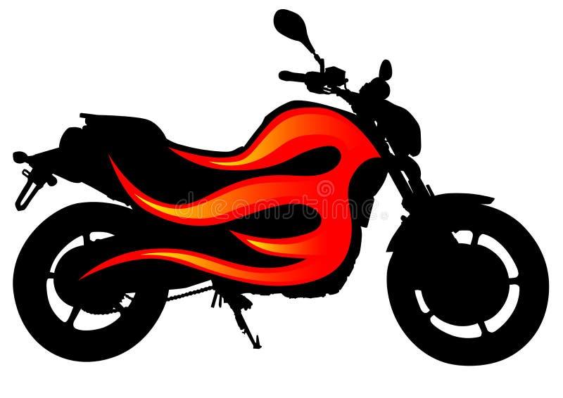 Moto sur l'incendie illustration stock