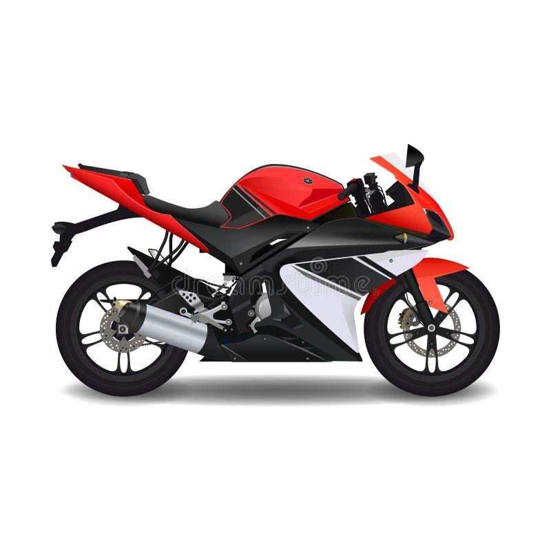 Moto, vélo rouge de sport illustration stock