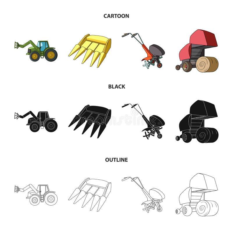 Motoblock i inni rolniczy przyrząda Rolniczej maszynerii ustalone inkasowe ikony w kreskówce, czerń, konturu styl ilustracja wektor