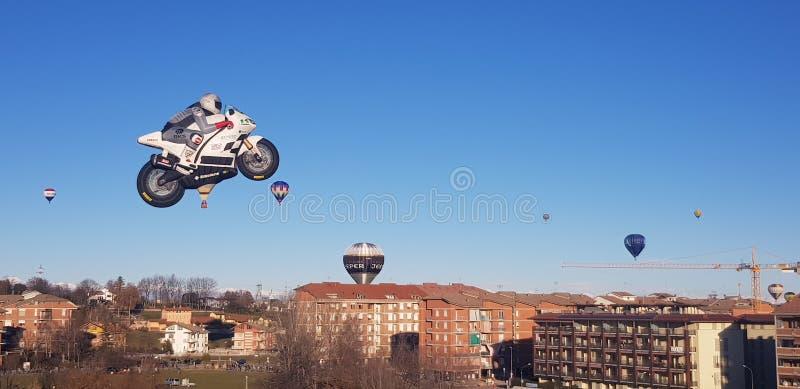 Motobyke Motogp dos balões de ar quente imagem de stock royalty free