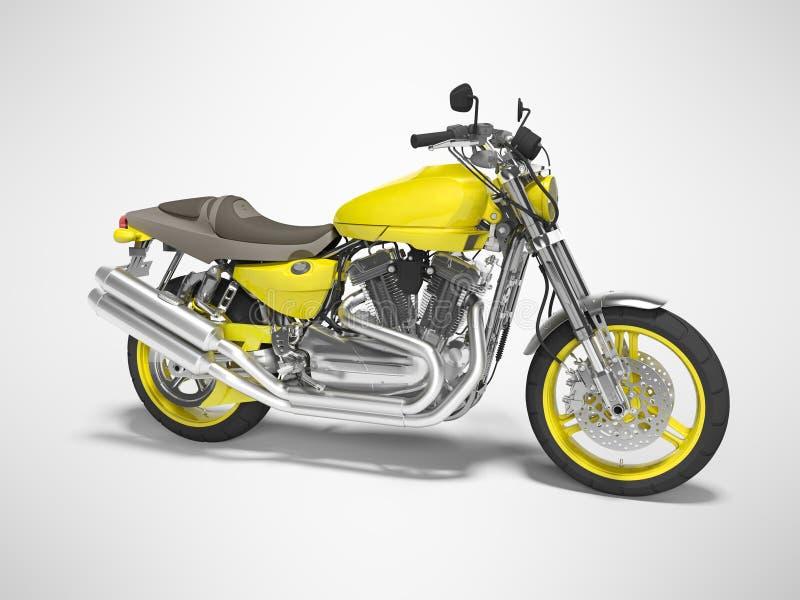 Motocicleta amarilla para dos el ejemplo aislado lugares de la opinión 3d del lado derecho en fondo gris con la sombra ilustración del vector