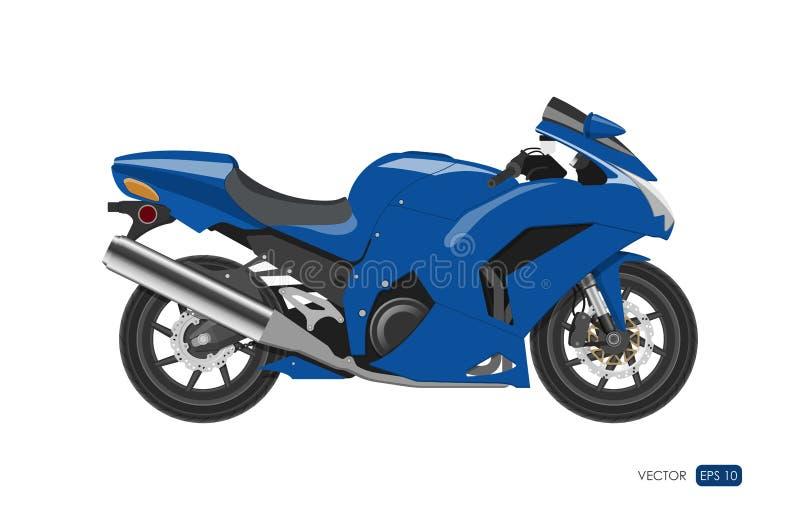 Motocicleta azul no estilo realístico Vista lateral Imagem detalhada da bicicleta no fundo branco ilustração royalty free