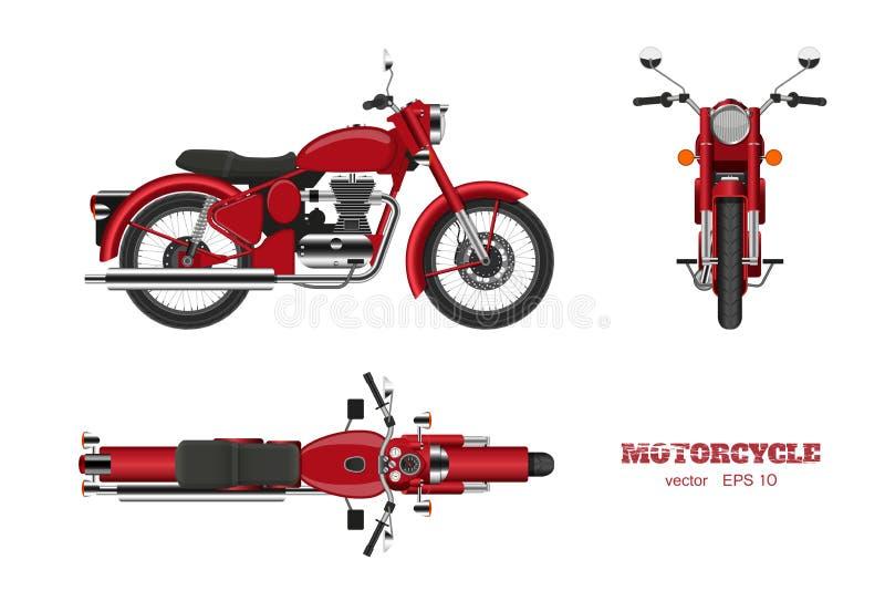 Motocicleta clásica retra en estilo realista Visión lateral, superior y delantera 3d Imagen detallada de la moto roja del vintage stock de ilustración