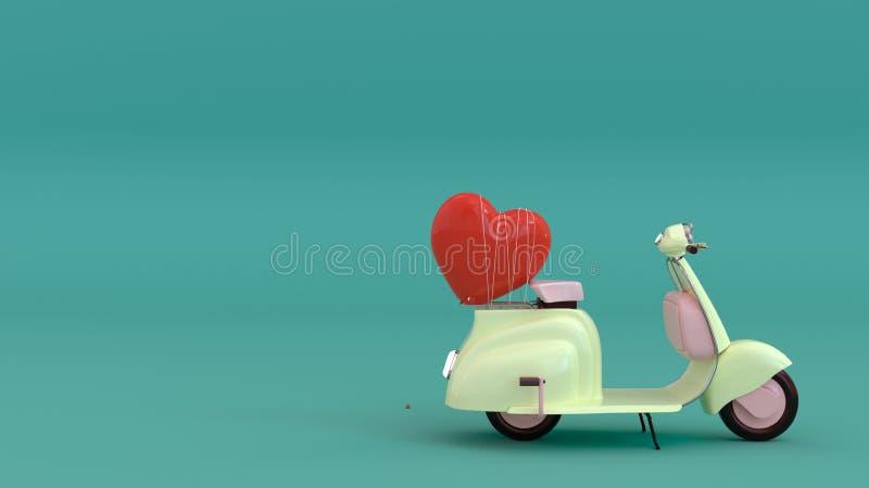A motocicleta clássica com o coração vermelho, vindo com amor, queda no amor, ilustração 3d, ama-o com todo o meu coração ilustração royalty free
