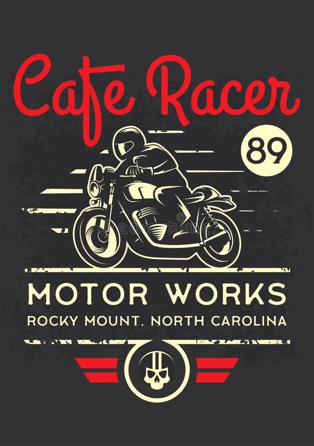 Motocicleta clássica do piloto do café para imprimir com textura do grunge Projeto da impressão do t-shirt ilustração do vetor