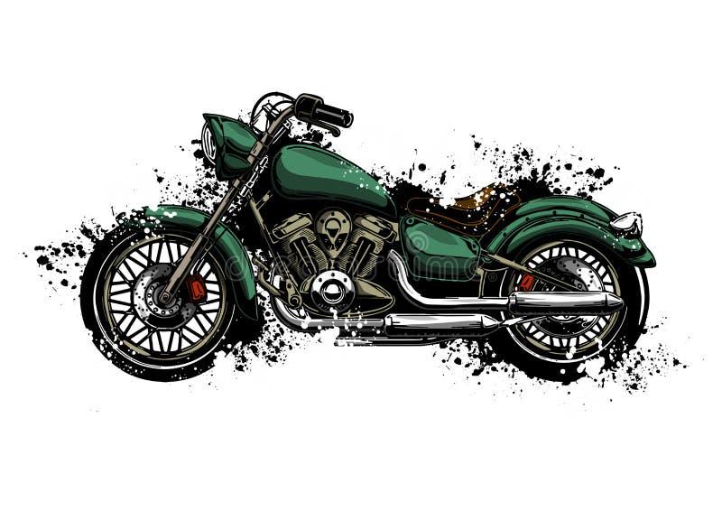 Motocicleta colorida da aquarela da ilustra??o isolada no branco ilustração stock