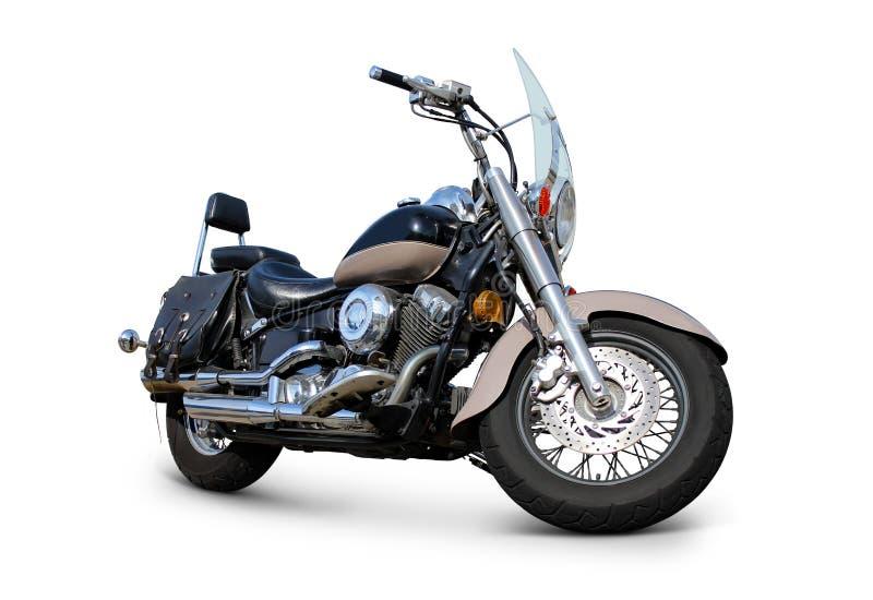 Motocicleta com opinião dianteira do para-brisa isolada no branco fotografia de stock