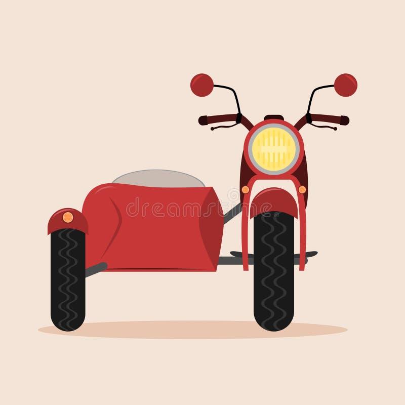 Motocicleta con el coche lateral stock de ilustración