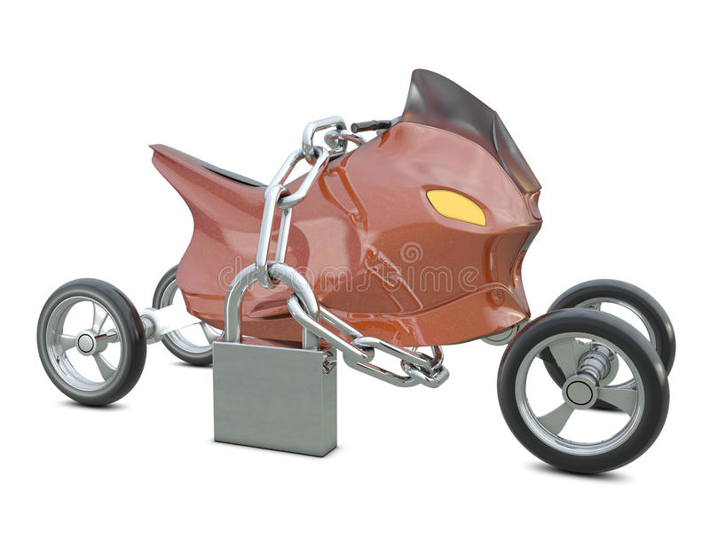 Motocicleta, corrente e cadeado fechado ilustração stock