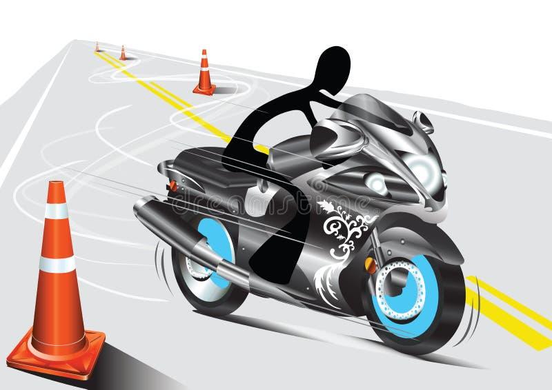 Motocicleta da equitação do homem da sombra ilustração royalty free