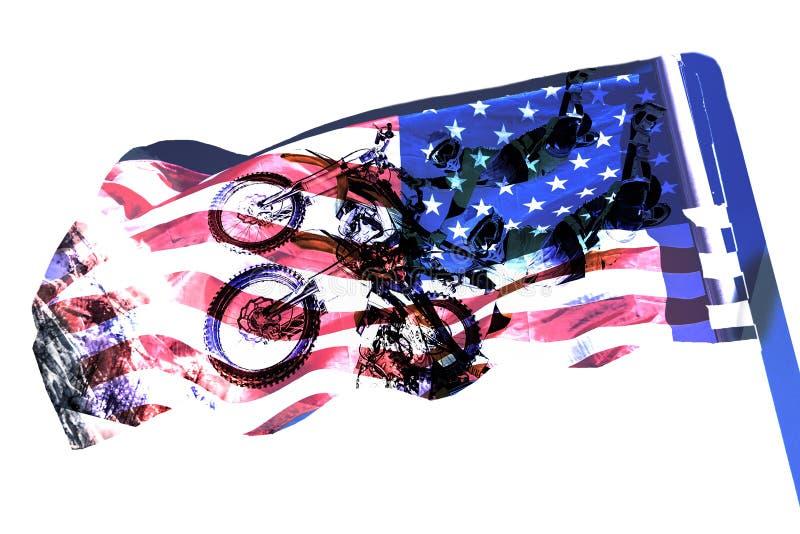 Motocicleta da exposição dobro e bandeira dos EUA Conceito americano do Dia da Independência ilustração do vetor