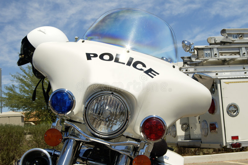 Motocicleta da polícia. foto de stock royalty free