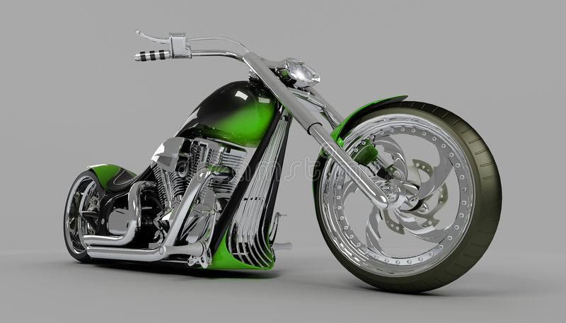 Motocicleta de encargo Macho del verde de la bici ilustración del vector