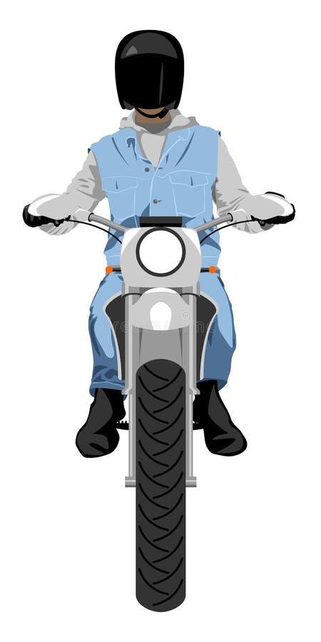 Motocicleta de Enduro con el ejemplo aislado del vector del color de la vista delantera del jinete libre illustration