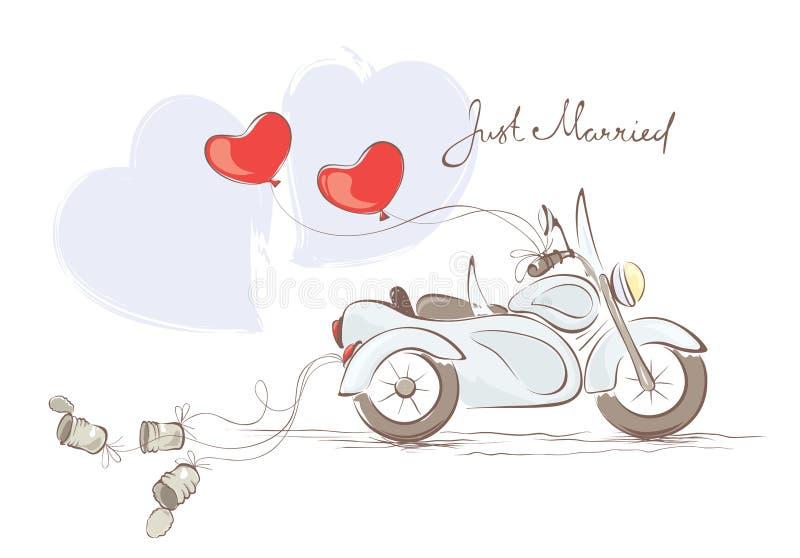 Motocicleta de la boda con el coche lateral libre illustration
