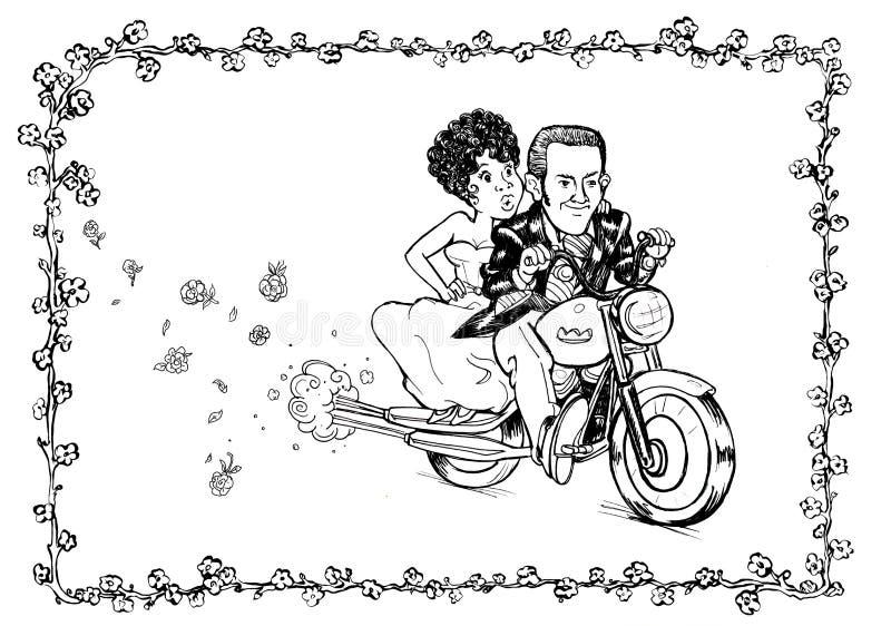 Motocicleta de la novia del novio ilustración del vector