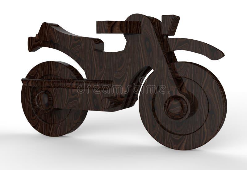 Motocicleta de madera de la nuez stock de ilustración