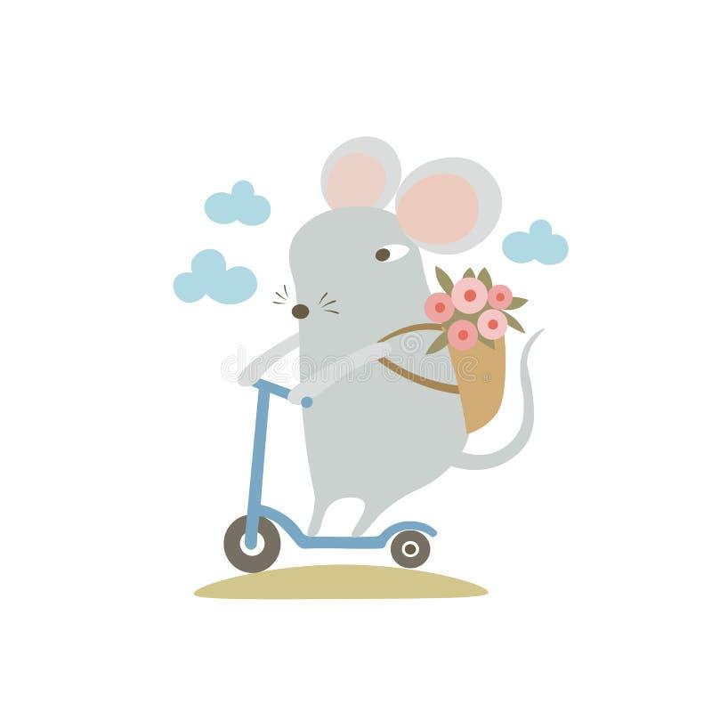 Motocicleta de patada eléctrica a caballo Rata divertida de caricatura disfrutando el verano Símbolo humanizado del zodiaco anima libre illustration