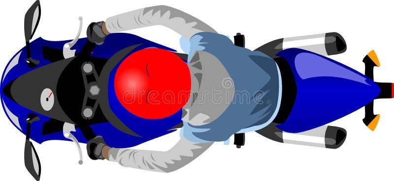 Motocicleta del deporte con la opinión superior del jinete ilustración del vector
