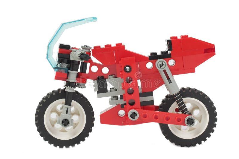 Motocicleta del juguete de Lego fotografía de archivo libre de regalías