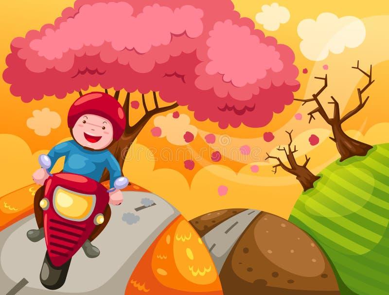 Motocicleta del montar a caballo del muchacho de la historieta del paisaje libre illustration