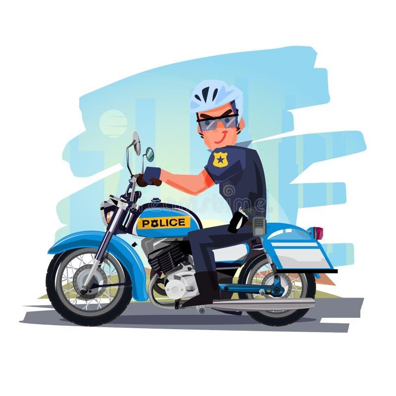 Motocicleta del montar a caballo del oficial de policía con la ciudad en fondo charac libre illustration