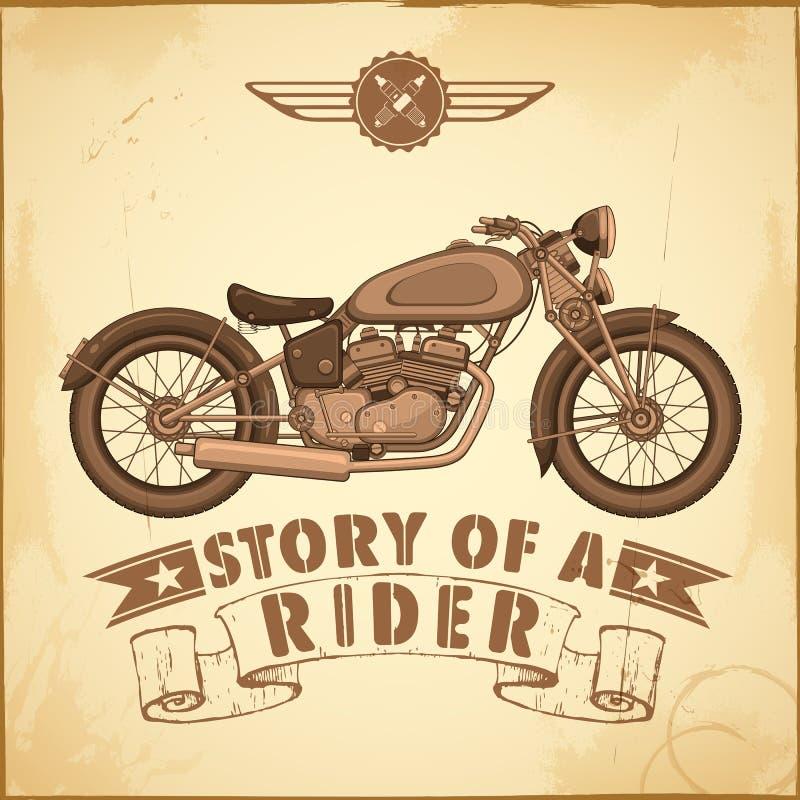 Motocicleta del vintage stock de ilustración