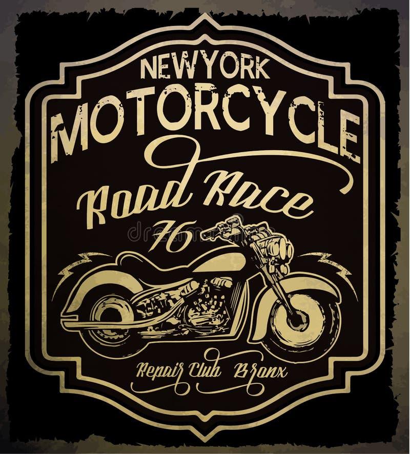 Motocicleta del vintage Ejemplo dibujado mano del vintage del grunge con stock de ilustración