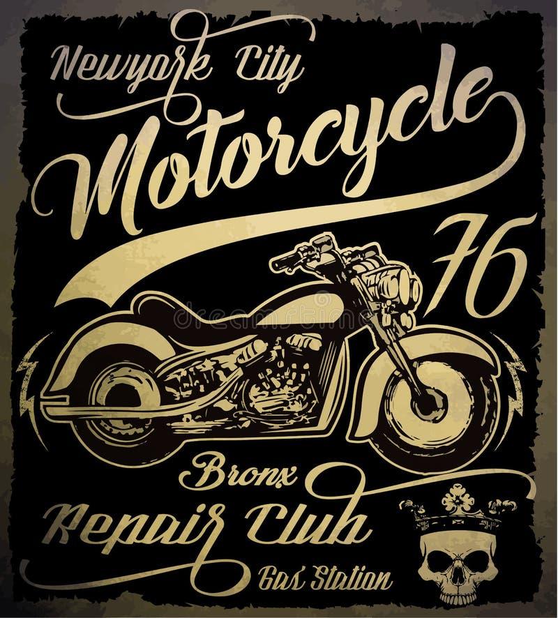 Motocicleta del vintage Ejemplo dibujado mano del vintage del grunge con libre illustration