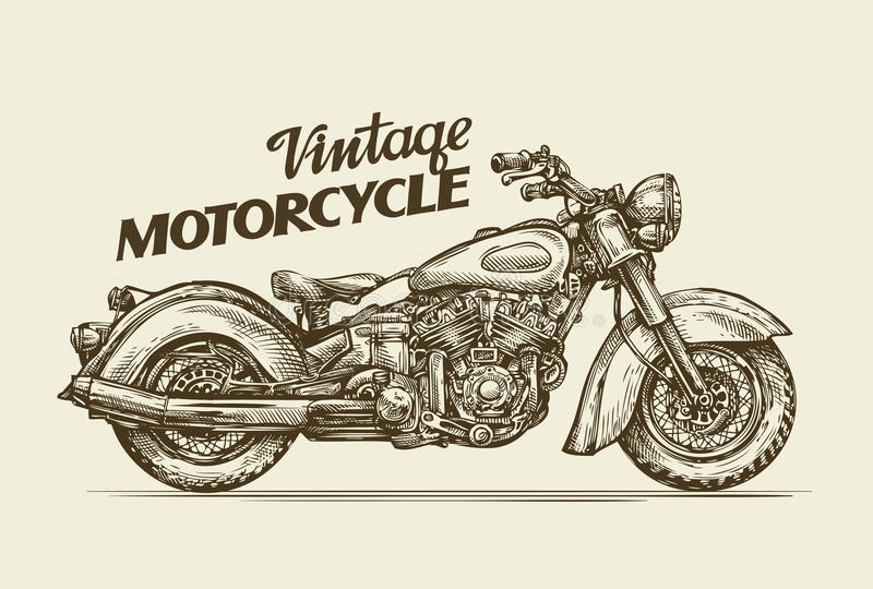 Motocicleta del vintage Moto retra dibujada mano del bosquejo Ilustración del vector ilustración del vector