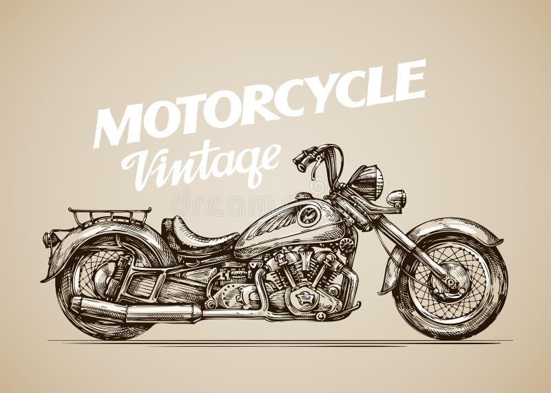 Motocicleta del vintage Moto retra dibujada mano Ilustración del vector stock de ilustración
