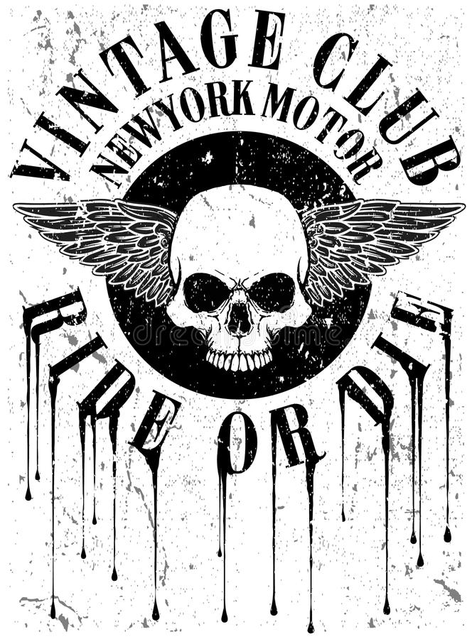 Motocicleta do vintage com projeto gráfico do T do crânio ilustração stock