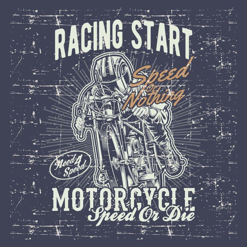 A motocicleta do vintage do estilo do Grunge que compete gráficos da tipografia entrega o vetor do desenho ilustração royalty free