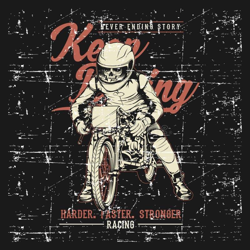 A motocicleta do vintage do estilo do Grunge que compete gráficos da tipografia entrega o vetor do desenho ilustração stock