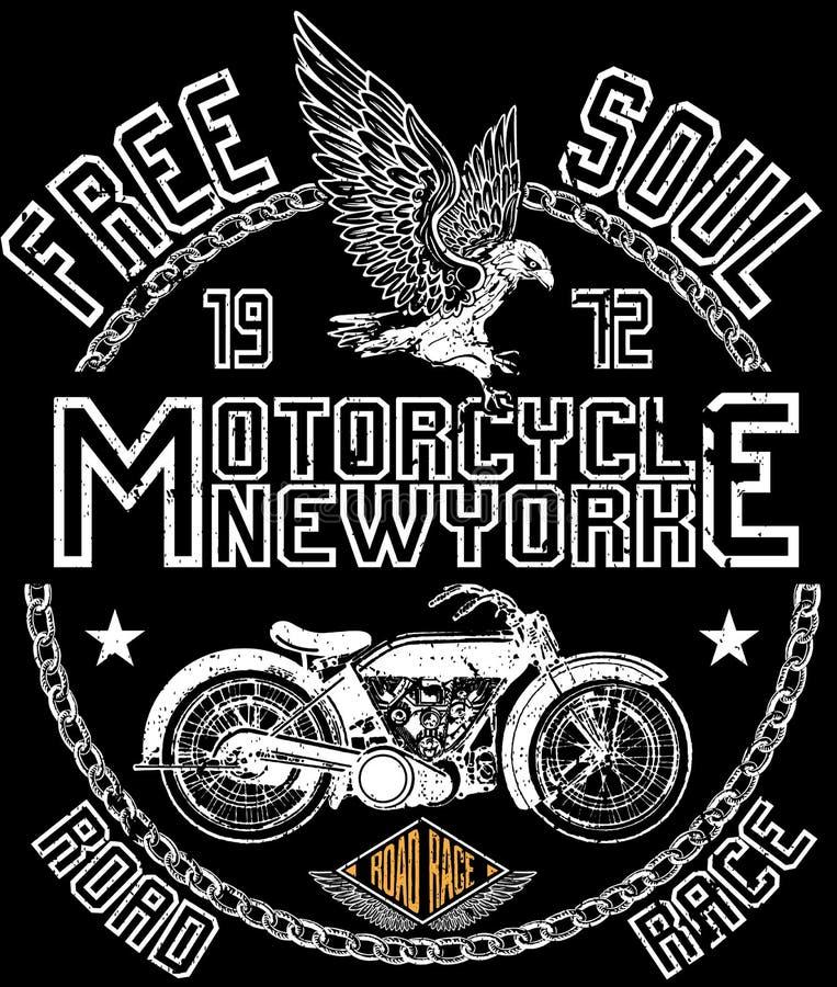 Motocicleta do vintage Ilustração tirada mão do vintage do grunge ilustração royalty free