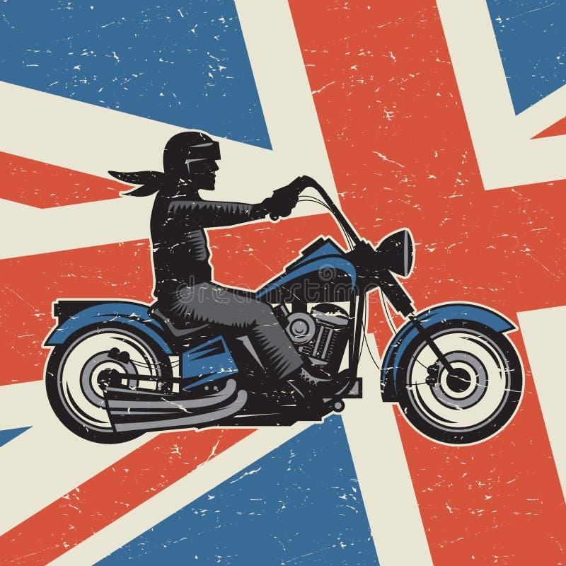 Motocicleta do vintage no fundo da bandeira de Reino Unido ilustração do vetor