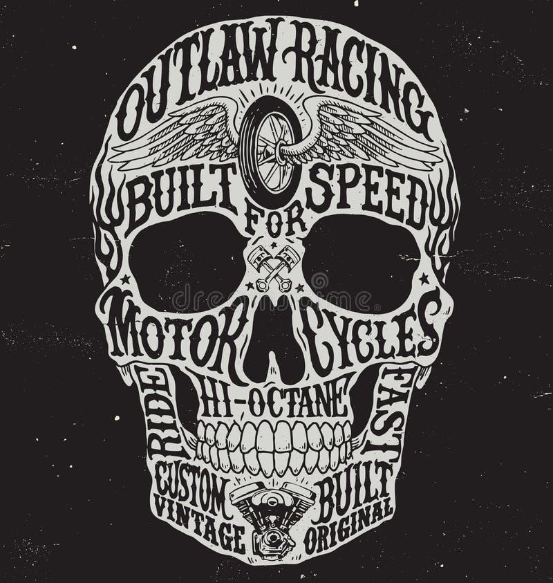 A motocicleta inspirou a ilustração do vetor do crânio da tipografia ilustração royalty free