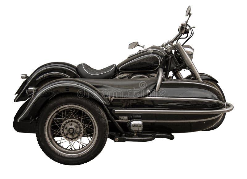 Motocicleta isolada do vintage com side-car fotos de stock royalty free