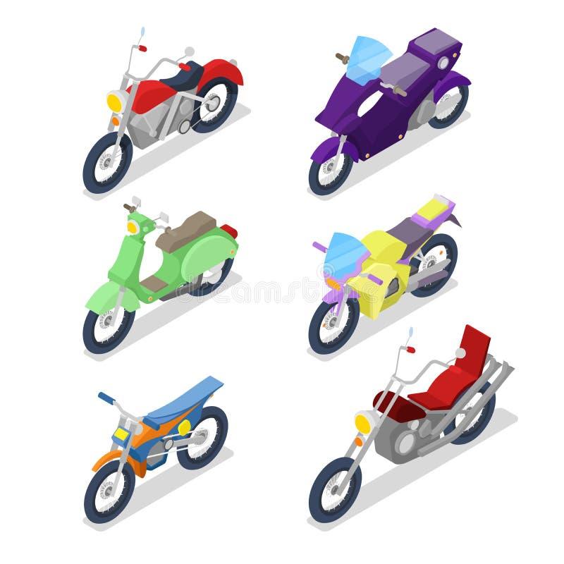 Motocicleta isométrica fijada con motocrós y la bici del motorista ilustración del vector