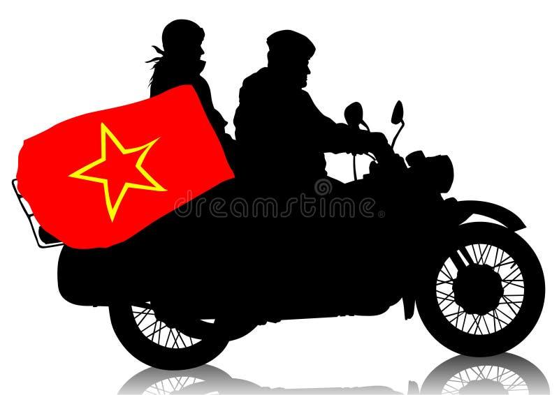 Motocicleta militar retro ilustração do vetor