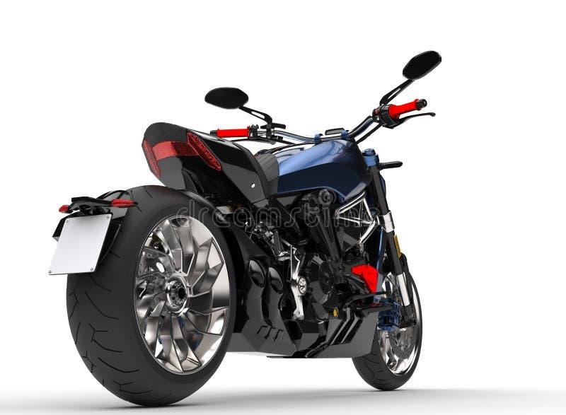 Motocicleta moderna azul metálica impressionante do interruptor inversor - tiro do close up da roda traseira ilustração royalty free