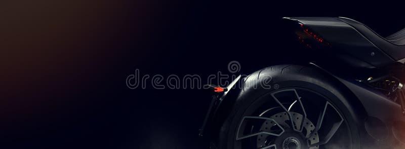 Motocicleta negra en el estudio ilustración del vector