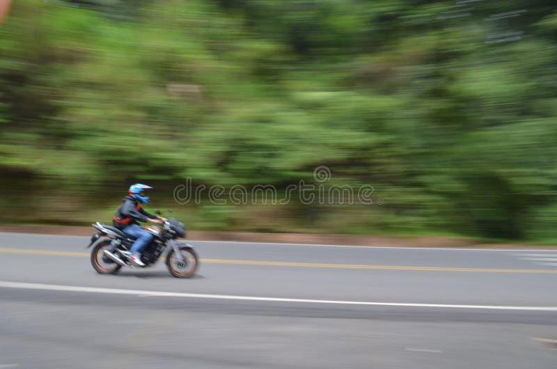 Motocicleta no movimento em um steet ao lado da floresta úmida foto de stock royalty free