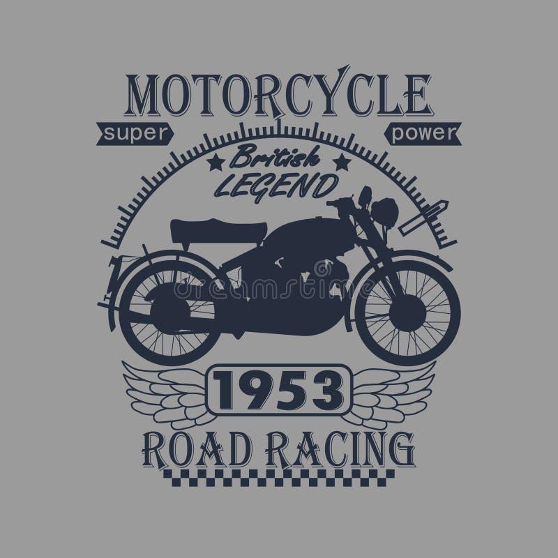 Motocicleta que compete a etiqueta dos gráficos da tipografia T ilustração stock